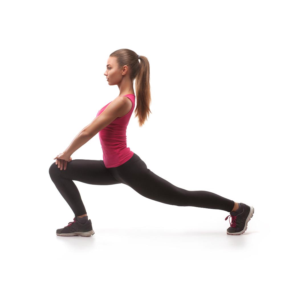 beautiful woman doing exercise isolated on white background
